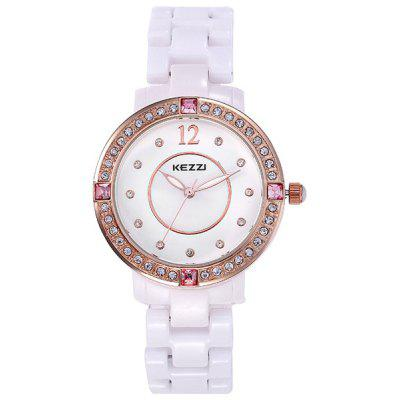 Kezzi Shiny Diamond Ladies Analog Quartz Watch Ceramic Strap