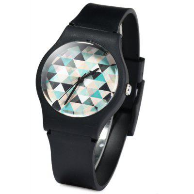 Willis Triangle Pattern Dial Quartz Watch Rubber Wristband for Women