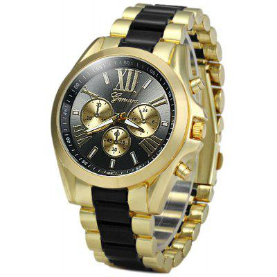 Geneva Analog Unisex Quartz Watch Steel + Plastic Band Round Dial