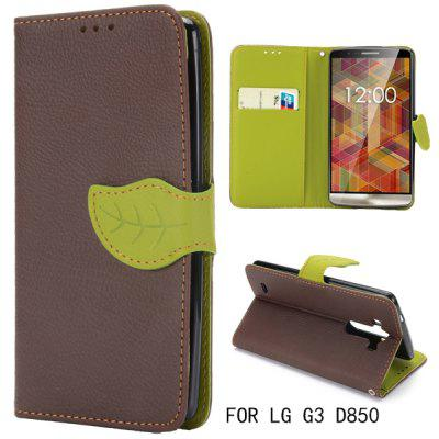 Leaf Magnetic Buckle Lichee Pattern Phone Cover PU Case Skin with Stand Function for LG G3 D850