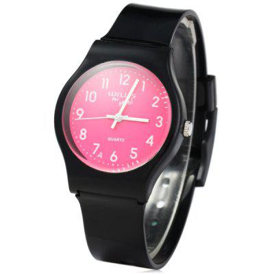 Willis Bright Colors Dial Quartz Watch Rubber Wristband for Women