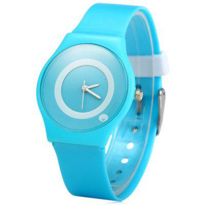 Willis Ladies Quartz Watch with Solid Color Round Dial Rubber Strap