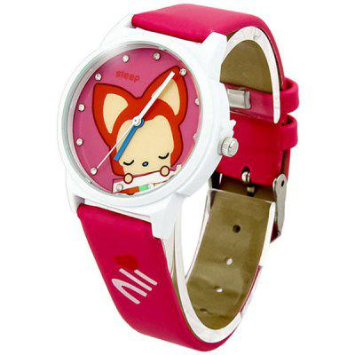 Cute Cartoon Ali Design Girls Women Quartz Watch with Leather Band Round Dial