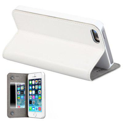 GGMM Built - in Mirror PC and Genuine Leather Material Cover Case for iPhone 5 5S