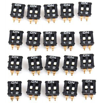 2 Position 4Pin 2.54mm Pitch DIP Switch ( DC 12V 50mA ) for DIY Project  -  20PCS