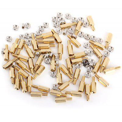 Brass Threaded M3 x 10mm + 6 Stand - Off Hex Screw Pillars DIY Accessories  -  50PCS