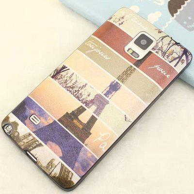 Stylish Iron Tower Pattern TPU and PU Material Back Cover Case for Samsung Galaxy Note 4 N9100