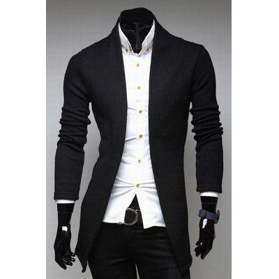 Laconic Collarless Solid Color Slimming Knitting Jacquard Long Sleeves Men's Cardigan