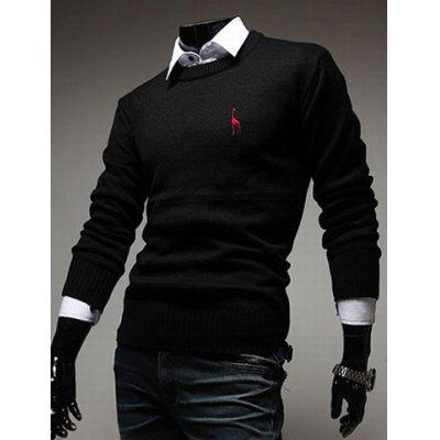 Buy Casual Round Neck Fawn Embroidery Slimming Solid Color Long Sleeves Men's Sweater BLACK M for $16.50 in GearBest store