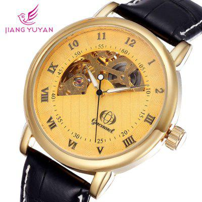 Gucamel Analog Mechanical Watch Hollow - out Design Genuine Leather Band for Men