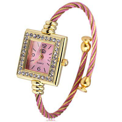 USS 1198 Female Quartz Bracelet Watch Diamond Steel Wire Strap