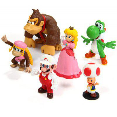 6pcs Mini Super Mario Bros 4cm  -  8cm Action Figures Doll Toys