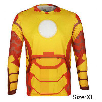 Arsuxeo Breathable Men Cycling Jersey Long Sleeve T - shirt Giant Spider Style Thermal Transfer Sports Running Clothes