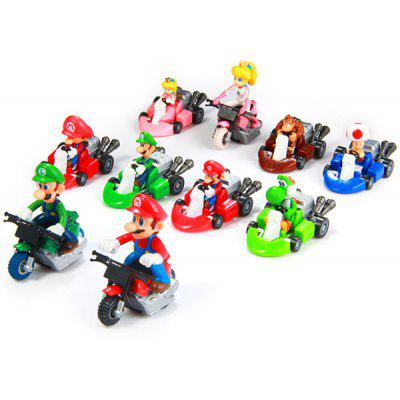 10pcs / Set Cute Super Mario Bros Kart Pull Back Car PVC Action Figure Toy 122920501