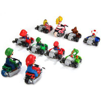 10pcs / Set Cute Super Mario Bros Kart Pull Back Car PVC Action Figure Toy ems shipping 12 sets cute super mario game mario luigi brothers set pvc action figure collection model dolls toy 3pcs per set