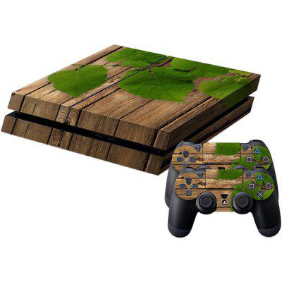 Wood Texture Style Game Console Gamepad Full Body Sticker for PS4