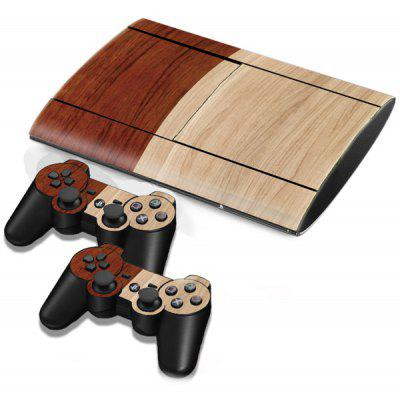 Wood Texture Style Game Console Gamepad Full Body Sticker for PS3 Slim 4000