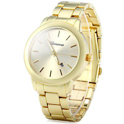 Geneva Male Analog Quartz Watch Stinless Steel Strap Date Function