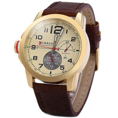 Curren 8182B Men Quartz Watch Leather Band with Non - functioning Sub - dials