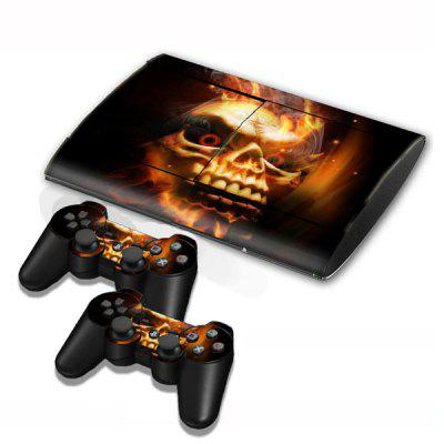 Cover Skin Stickers for PS3 Game Console and Controllers with Afire Skull Pattern