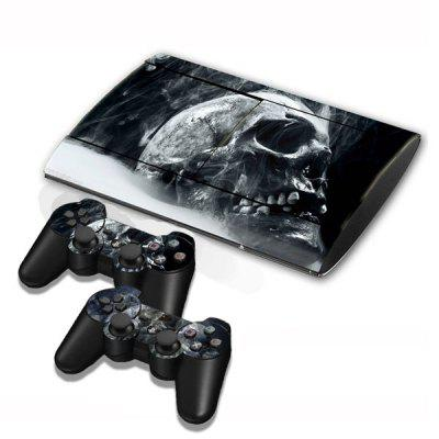 Cover Skin Stickers for PS3 Game Console and Controllers with Smoking Skull Pattern
