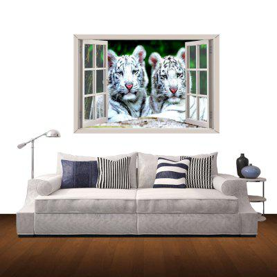 White Tiger Couples Pattern 3D Home Wall Sticker