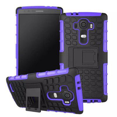 Stand Design TPU and PC Material Tire Pattern Protective Back Cover Case for LG G4