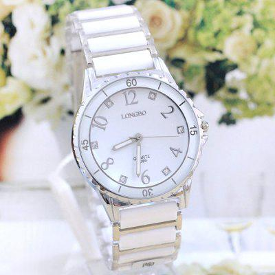Longbo 8389 Ceramic Round Dial Men Quartz Watch