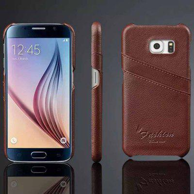 Practical Genuine Leather and PC Material Card Holder Protective Back Cover Case for Samsung Galaxy S6 G9200