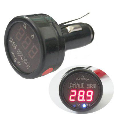 TS  -  BV523 Cigarette Lighter Style Voltmeter Thermometer  -  12V / 24V