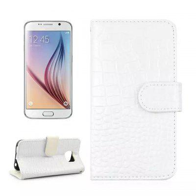 Stand Design Crocodile Pattern Protective Cover Case of PU and PC Material for Samsung Galaxy S6 G9200