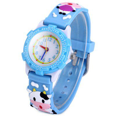 Buy Analog Quartz Watch Cow Design Rubber Band for Children BLUE for $3.37 in GearBest store
