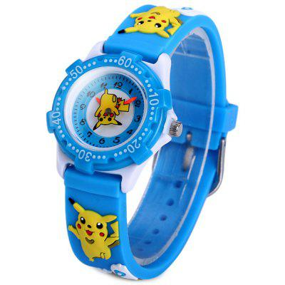 Buy BLUE Analog Quartz Watch Pikachu Design Rubber Band for Children for $5.99 in GearBest store