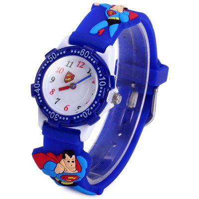 Analog Quartz Watch Super - man Design Rubber Band for Children