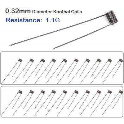 20pcs / Pack 0.32mm Diameter 1.1ohm Kanthal Resistance Wire RBA Coils for E - cigarette Atomizers DIY