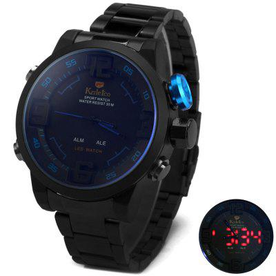 Kaletco Male LED Sports Watch Double Display 30M Waterproof  Alarm Stainless Steel Strap