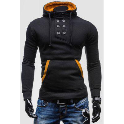 Gearbest Novel Double-Breasted Embellished Hooded Color Splicing Slimming Long Sleeves Men's Hoodie  -  L  BLACK