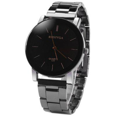 Rosivga 177 Delicate Stainless Steel Band Men Quartz Watch with Stripes Display Round Dial