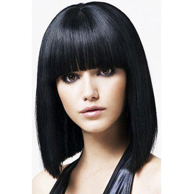 Medium Straight Black Wave Synthetic Wig With Full Bang For Women
