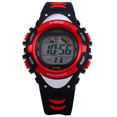 Lasika K - sport F60 Sports Watch LED Backlight Round Dial Rubber Wrist BandSports Watches<br>Lasika K - sport F60 Sports Watch LED Backlight Round Dial Rubber Wrist Band<br><br>Available Color: Red,Blue,Yellow<br>Band material: Rubber<br>Brand: Lasika<br>Brand origin: China<br>Clasp type: Pin buckle<br>Display type: Digital<br>Movement type: Digital watch<br>Package Contents: 1 x Lasika K-sport F60 LED Watch, 1 x Chinese / English User Manual<br>Package size (L x W x H): 30.0 x 7.0 x 3.0 cm / 11.79 x 2.75 x 1.18 inches<br>Package weight: 0.09 kg<br>People: Unisex table<br>Product size (L x W x H): 22.0 x 3.5 x 1.0 cm / 8.65 x 1.38 x 0.39 inches<br>Product weight: 0.037 kg<br>Screen: LED<br>Shape of the dial: Round<br>Special features: Stopwatch, 12/24 hours switch, EL Back-light, Alarm Clock, Week<br>The band width: 1.6 cm / 0.6 inches<br>The bracelet inner diameter: 25 mm<br>The dial diameter: 3.5 cm / 1.4 inches<br>The dial thickness: 1.0 cm / 0.4 inches<br>Watch style: Outdoor Sports, LED<br>Water resistance: 30 meters