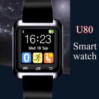 U80 Smart Bluetooth Watch Call Message ReminderSmart Watches<br>U80 Smart Bluetooth Watch Call Message Reminder<br><br>Anti-lost: Yes<br>Available Color: Black,Red,White<br>Band material: Rubber<br>Bluetooth calling: Call log sync,Phone call reminder,Phonebook<br>Bluetooth Version: Bluetooth 3.0<br>Case material: Plastic<br>Compatability: Android 3.0 and above system<br>Compatible OS: Android<br>Health tracker: Drinking reminder,Pedometer,Sedentary reminder<br>Language: Czech,Dutch,English,French,German,Greek,Hungarian,Italian,Polish,Portuguese,Russian,Spanish,Turkish<br>Messaging: Message reminder<br>Other Functions: Alarm, Calender, Stopwatch, Calculator<br>Package Contents: 1 x Watch, 1 x Charging Cable, 1 x English Manual<br>Package size (L x W x H): 13.00 x 9.40 x 8.50 cm / 5.12 x 3.7 x 3.35 inches<br>Package weight: 0.1420 kg<br>People: Unisex watch<br>Product size (L x W x H): 24.00 x 4.00 x 1.10 cm / 9.45 x 1.57 x 0.43 inches<br>Product weight: 0.0300 kg<br>Remote Control: Camera remote,Music remote<br>Screen: LED<br>Screen size: 1.44 inch<br>Shape of the dial: Rectangle<br>The dial diameter: 4.7 x 4.0 cm / 1.85 x 1.57 inches<br>The dial thickness: 1.1 cm / 0.43 inches