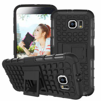 Stand Design TPU and PC Material Tire Pattern Protective Back Cover Case for Samsung Galaxy S6 G9200