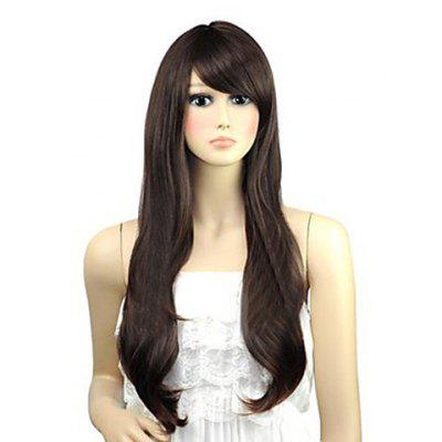 Buy DEEP BROWN Cute Long Wavy Brown Side Bang Heat-Resistant Synthetic Wig For Women for $17.76 in GearBest store