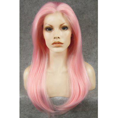 Fashion Long Straight Slightly Curled Charming Pink Heat Resistant Synthetic Wig For Women