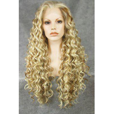Buy Fashionable Highlights Fluffy Synthetic Long Jerry Curly Heat Resistant Women's Lace Front Wig for $73.81 in GearBest store
