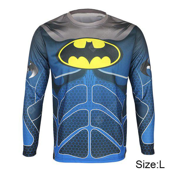 Arsuxeo Breathable Men Cycling Jersey Camiseta de manga comprida Batman Style Thermal Transfer Sports Running Clothes