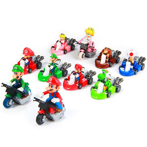 Super Mario Bros Kart Pull Back Car Figure Toy 10pcs