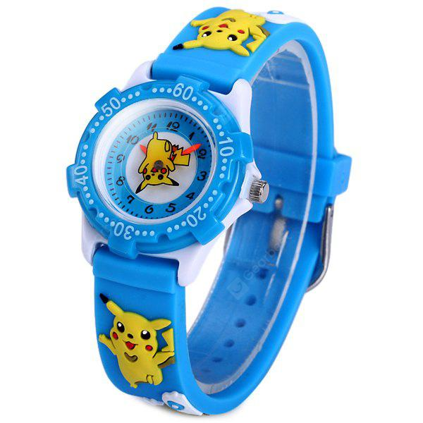 Analog Quartz Watch Pikachu Design Rubber Band for Children