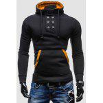 Novel Double-Breasted Embellished Hooded Color Splicing Slimming Long Sleeves Men's Hoodie - BLACK