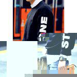 Buy Laconic Round Neck Letters Print Loose Fit Solid Color Dolman Sleeves Men's Sweatshirt XL BLACK